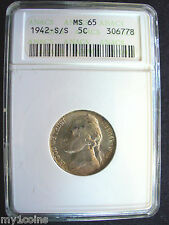 1942-S/S Jefferson Nickel, ANACS MS65, RARE S/S ERROR, WAR ERA  silver alloy