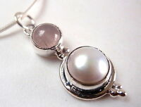 Pearl and Rose Quartz Round Cabochon 925 Sterling Silver Pendant New