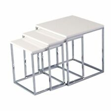 New Set of 3 Nest of Tables White Gloss and Chrome Occasional, Side Tables