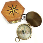 Vintage HANDMADE SOLID BRASS COMPASS WORKING NEEDLE MAGNET WOOD DECOR HOME/