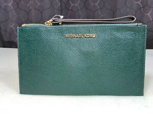 Michael Kors Jet Set Racing Green Large Zip Pouch Clutch Pebbled Leather