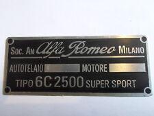 Nameplate Alfa Romeo Shield Id Plate 6C 2500 6C2500 6 C Super Sport Placca s7