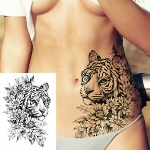 Sexy realistic temporary black tiger body art sticker tattoo for women legs arms