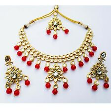 Three Line Stone Style Meena Kudan Gold Plated Pearls Look Jewelry Necklace Sets