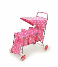 Badger Basket Triple Doll Stroller W White Polka Dots in Pink - 09924