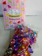 100 Pcs MULTI COLORED Diamond Table Scatter Confetti Decor Wedding Crystals 3/4""