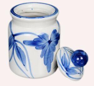Vintage Blue & White Ceramic Pickle Jar / Pot Decorative Collectible. i59-84 US