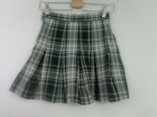 Parker Skirt School Size 28G Black White Green Yellow Plaid Pleated