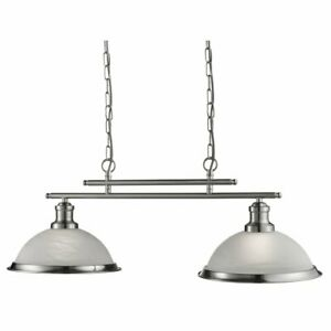 """SEARCHLIGHT"""" BEVERLEY """" 2 L KITCHEN ISLAND LINEAR PENDANT / MARBLED GLASS SHADES"""