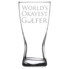 Beer Glass Pilsner Stein Mug Funny World's Okayest Golfer Golf