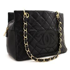 z41 CHANEL Authentic Caviar Chain Shoulder Bag Shopping Tote Black Quilted Purse