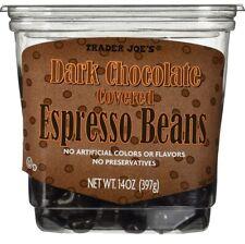 2 TUBS TRADER JOE'S DARK CHOCOLATE  COVERED ESPRESSO COFFEE BEANS - 14 oz Each