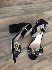 New J Crew Collection Sequin Strappy High-heel Sandals Black Sz 9.5 E6406