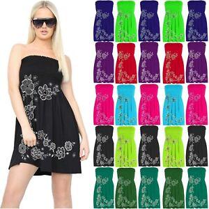 Women Ladies Floral Print Sheering Boobtube top Bandeau Gather Strapless Dress