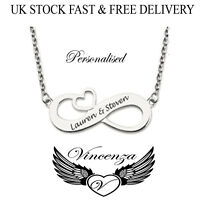 Personalised Infinity Heart Style Pendant Name Necklace, Silver Plated, Gift UK