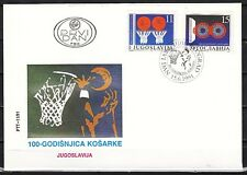 Yugoslavia, Scott cat. 2104-2105. Basketball issue on a First day cover.
