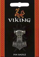 Viking Thors Hammer Pewter Lapel Pin Badge