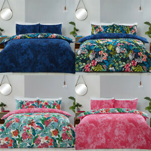 Tropical Jungle Leaf Duvet Cover & Pillowcases Luxury Reversible Bedding Set