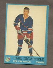 1962-63 Topps Hockey No. 51 Rangers Earl Ingarfield Ex