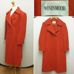 WINDSMOOR PURE NEW WOOL RED LONG DOUBLE BREASTED WOMENS COAT SIZE 8-10
