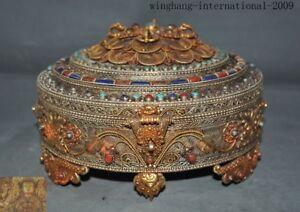 Tibet silver Filigree Inlay turquoise gem flower Vajra phurpa Storage Box Boxes