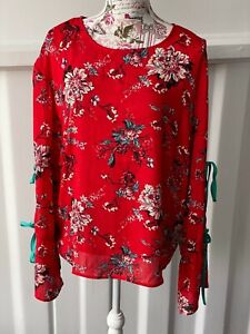 """""""GLAMOUROUS""""(TALL) SIZE """"16"""" LADIES STUNNING RED MIX LONG SLEEVE TOP***"""