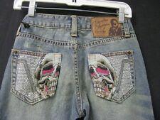 NWT Forever Christian Audigier Skull Denim Jeans 24/33 - Free Shipping