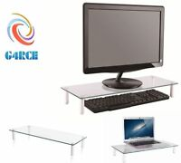 TABLETOP MONITOR STAND CLEAR GLASS XBOX ONE DVD PS RISER LED LCD TV RISER STAND
