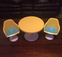 """American Girl Julie's Yellow Table Chairs 18"""" Doll Furniture Retired, Furniture"""