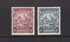 Barbados 1938-41 2s6d & 5s Lightly Mounted Mint