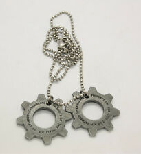 New Gears of War 3 Distressed Metal Replica Cog Tags Necklace Great Gift US ship