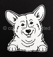Smiling Pembroke Welsh Corgi Dog Window Art Decal Sticker -Oracal 651 Vinyl