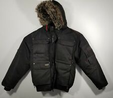 J. Whistler Men's Hooded Down Coat  w/Inside Suspenders & Fur Lined Hood Size Sm