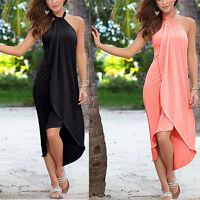 Halter Women Sexy Boho Long Maxi Beach Cocktail Evening Party Dress Sundress