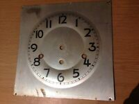 Antique Clock Dial Face with Back Plate Ex Clockmakers Spare Parts 23x23cm