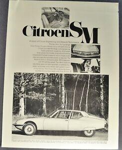 1971-1972 Citroen SM Road Test Sales Brochure Folder Maserati Excellent Original