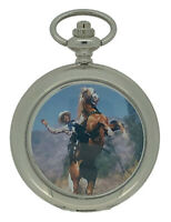 New Country Western Cowboy Rodeo Silver Tone Pocket Watch And Chain by WESTIME