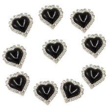 10x Heart Flatback Crystal Pearl Button Rhinestone Embellishment Craft Black