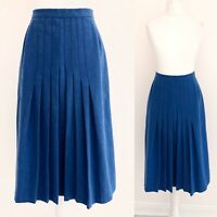 Vintage Wool Blend Skirt 8 10 Blue Pleated Midi A Line Formal Office Work Asdale