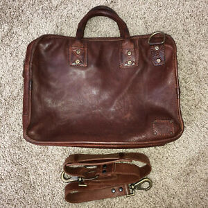 Will Leather Goods Hank Satchel W/ Strap Brown Briefcase Messenger Bag
