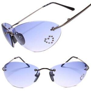 Classic Vintage Retro Womens Rimless Oval Sunglasses Blue Lens Gunmetal Frame