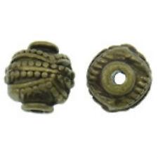 10pc 10x9mm lantern style antique bronze finish metal beads-Bb71