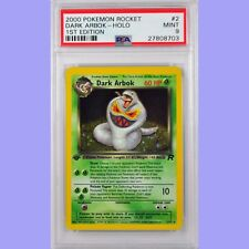 "Pokemon 1st Edition ""Error"" Dark Arbok Holo 2/82 Team Rocket PSA 9 MINT"