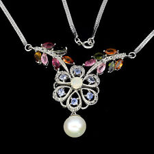 REAL TOURMALINE,TANZANITE,FIRE OPAL,PEARL,W. TOPAZ STERLING 925 SILVER NECKLACE
