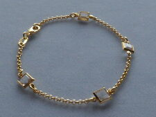 "7 1/2"" GOLD FILLED BRACELET-ROLO LINK w/CLEAR FACETED SQUARE CRYSTALS IN BEZELS"