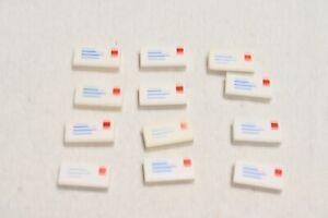 Lego 12 Stück 3069bp01 Fliese bedruckt Brief weiß 1x2