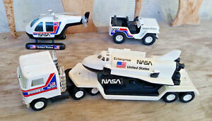 BUDDY L NASA ENTERPRISE SPACE SHUTTLE JEEP HELICOPTER SEMI TRUCK SET 1980s