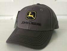 John Deere Dark Gray w/ Black & Yellow Logo, Contrast Stitching Hat / Cap