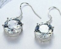 18K White Gold Plated Drop Earring 32mm Drop Earring made with Swarovski Crystal