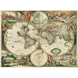 Wooden Jigsaw Puzzle 500 PCS Map of the World in Year 1689 Educational Toy Decor